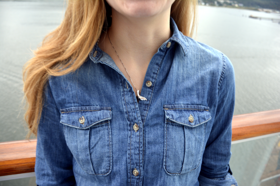 Zara Chambray Button Down Whale Tail Necklace
