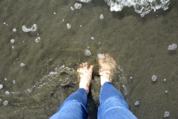 Feet in Pacific Ocean