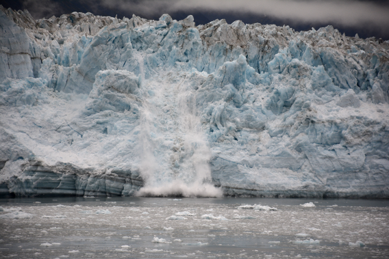 Waterfall Calving on Hubbard Glacier