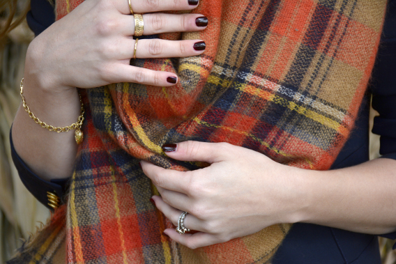 Chanel Rouge Noir Zara Red Blanket Scarf Gold Rings