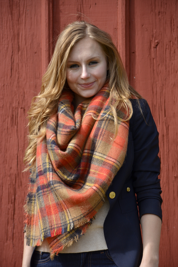 Autumn Plaid Blanket Scarf Smythe Navy Blazer