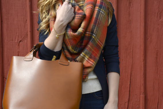 Zara Tan Leather Shopper Bag Red Plaid Blanket Scarf