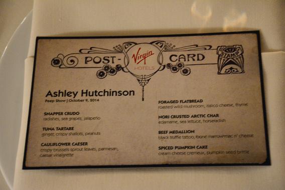 Virgin Hotels Peep Show Dinner Menu October 2014