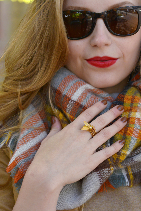 Zara Plaid Blanket Scarf and Gold Bee Ring