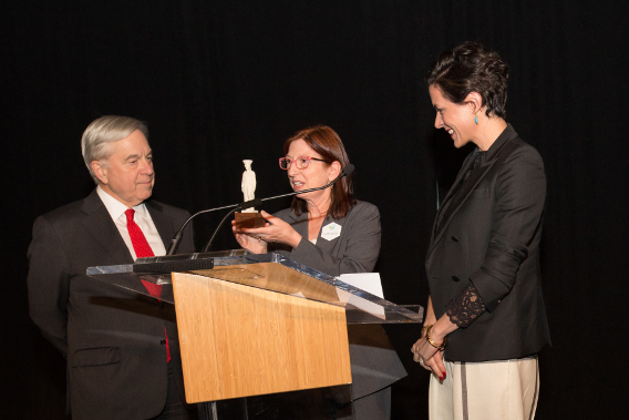 Garance Doré receiving the Fashion Inspiration Award at Chicago's Museum of Science and Industry, November 2014