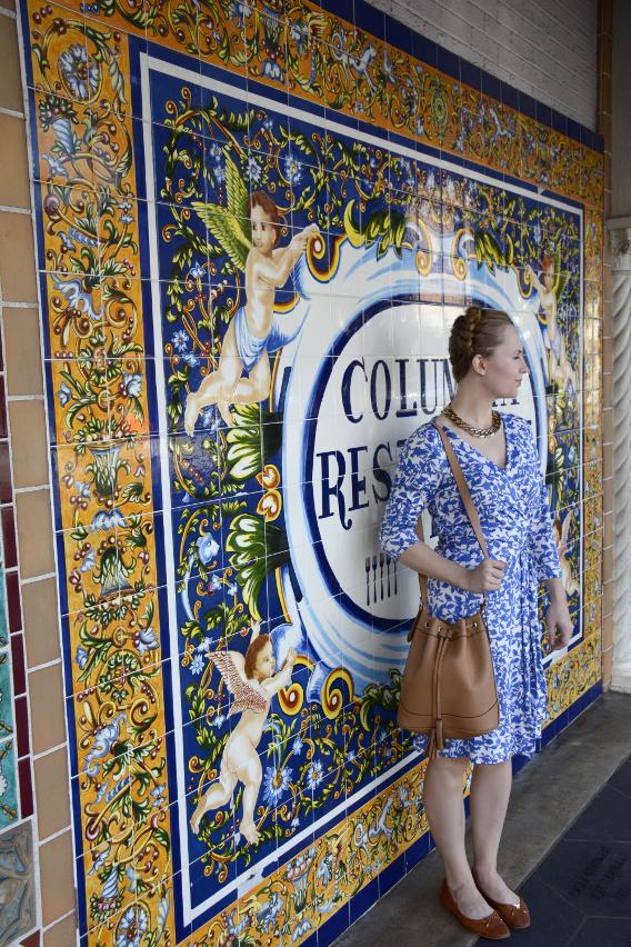 Diane von Furstenberg wrap dress at the Columbia