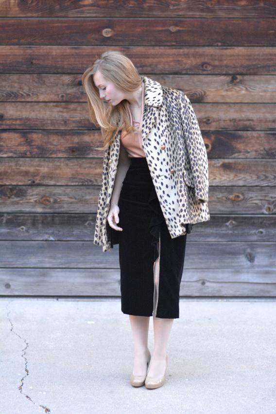 Leopard and Black Ruffled Velvet