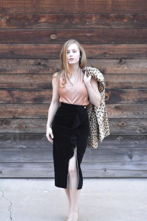 Givenchy Ruffled Black Velvet Midi Skirt