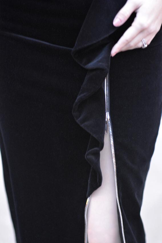 Zipper Detail on Givenchy Black Velvet Midi Skirt