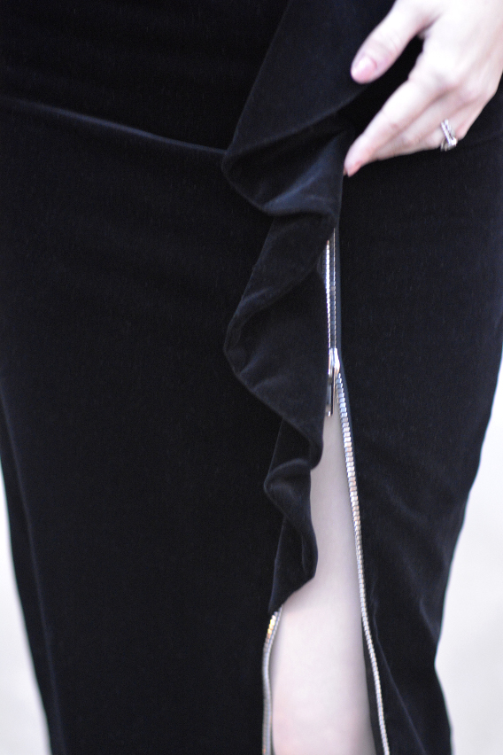 Zipper Detail on Givenchy Black Velvet Midi Skirt