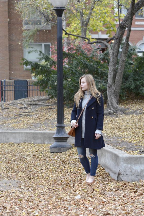 Zara Navy Wool Coat Outfit