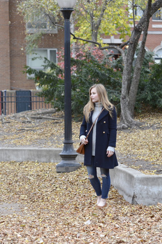 Zara Navy Wool Coat Outfit