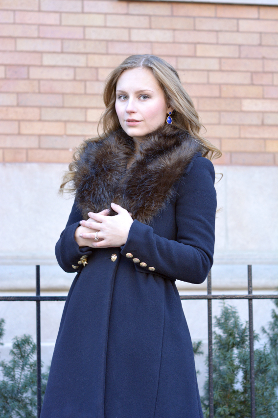 Faux Fur Stole and Zara Navy Coat