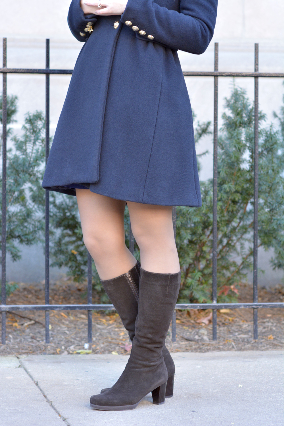 Espresso Suede Boots with Navy Military Zara Coat