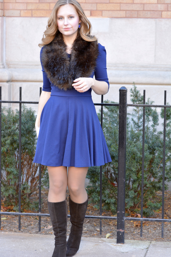 Lapis Lazuli with Navy Scallop Dress and Fur