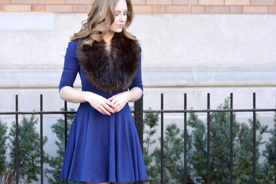 Fur and Navy Scallop Dress
