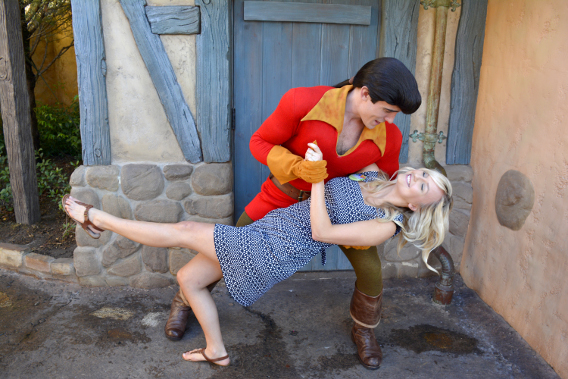 Disney's Gaston dipping my sister