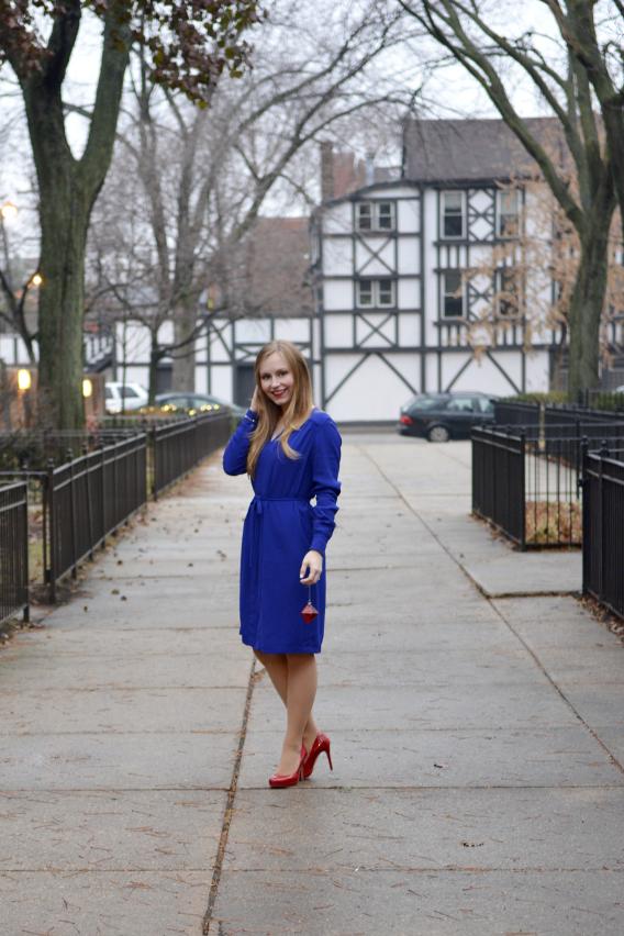 LK Bennett London Blue Brindi Dress