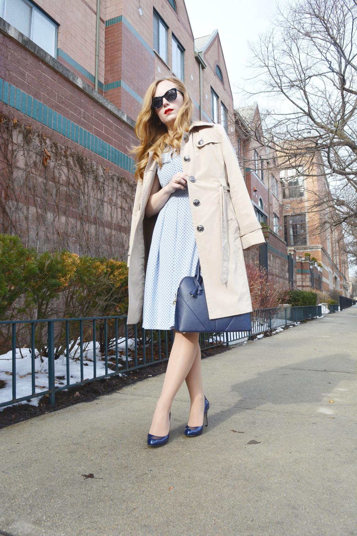 Hobbs Polka Dot Blue Sarah Dress