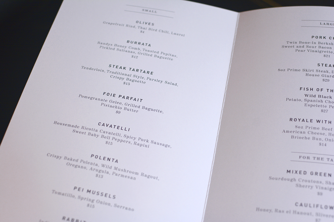 Presidio Chicago Dinner Menu