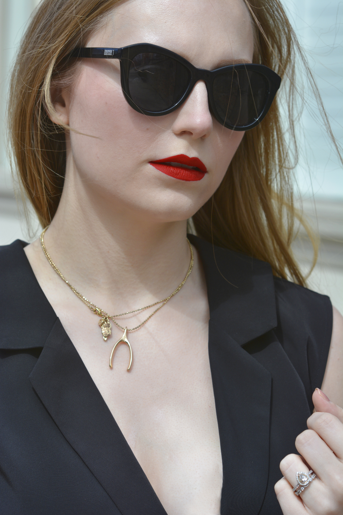 Black Jumpsuit with Red Lips