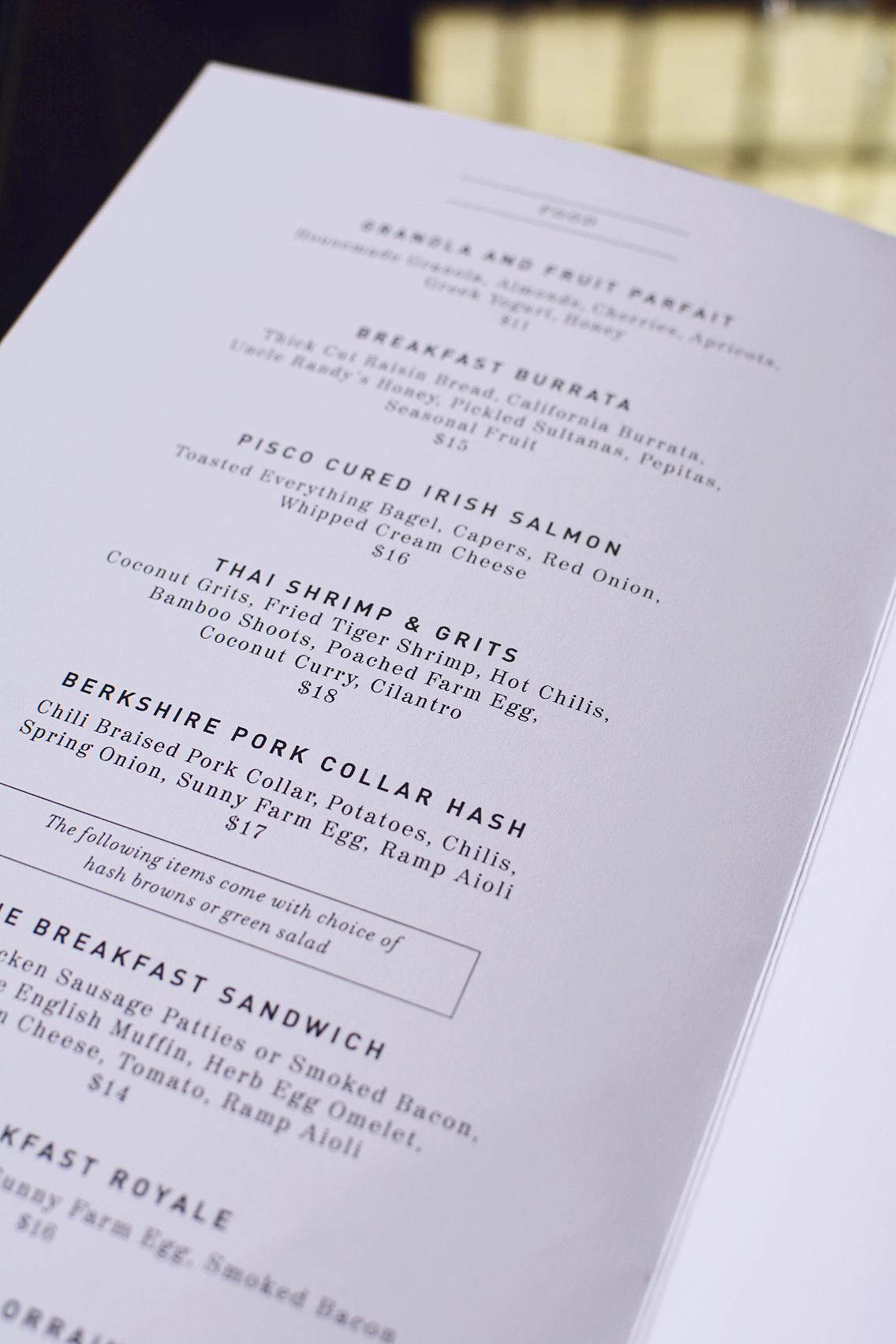 Presidio Brunch Menu Chicago
