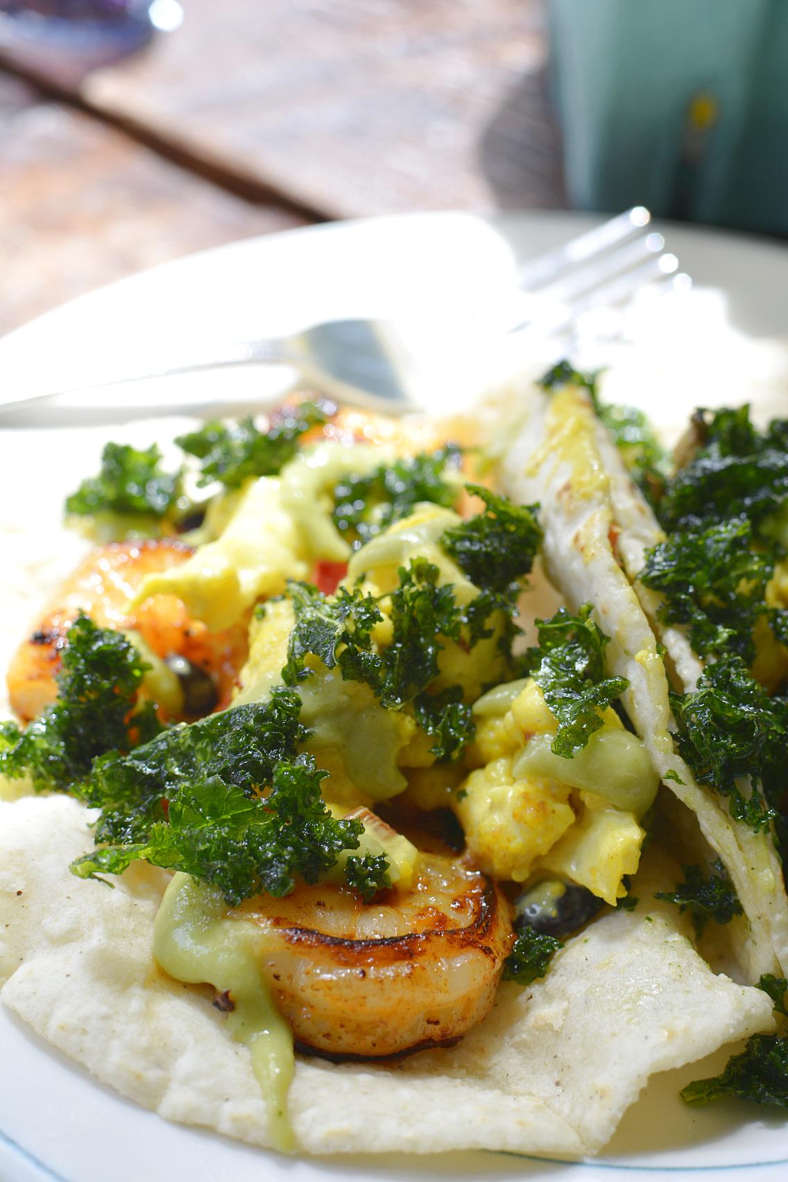 Antique Taco Garlic Shrimp Kale Taco