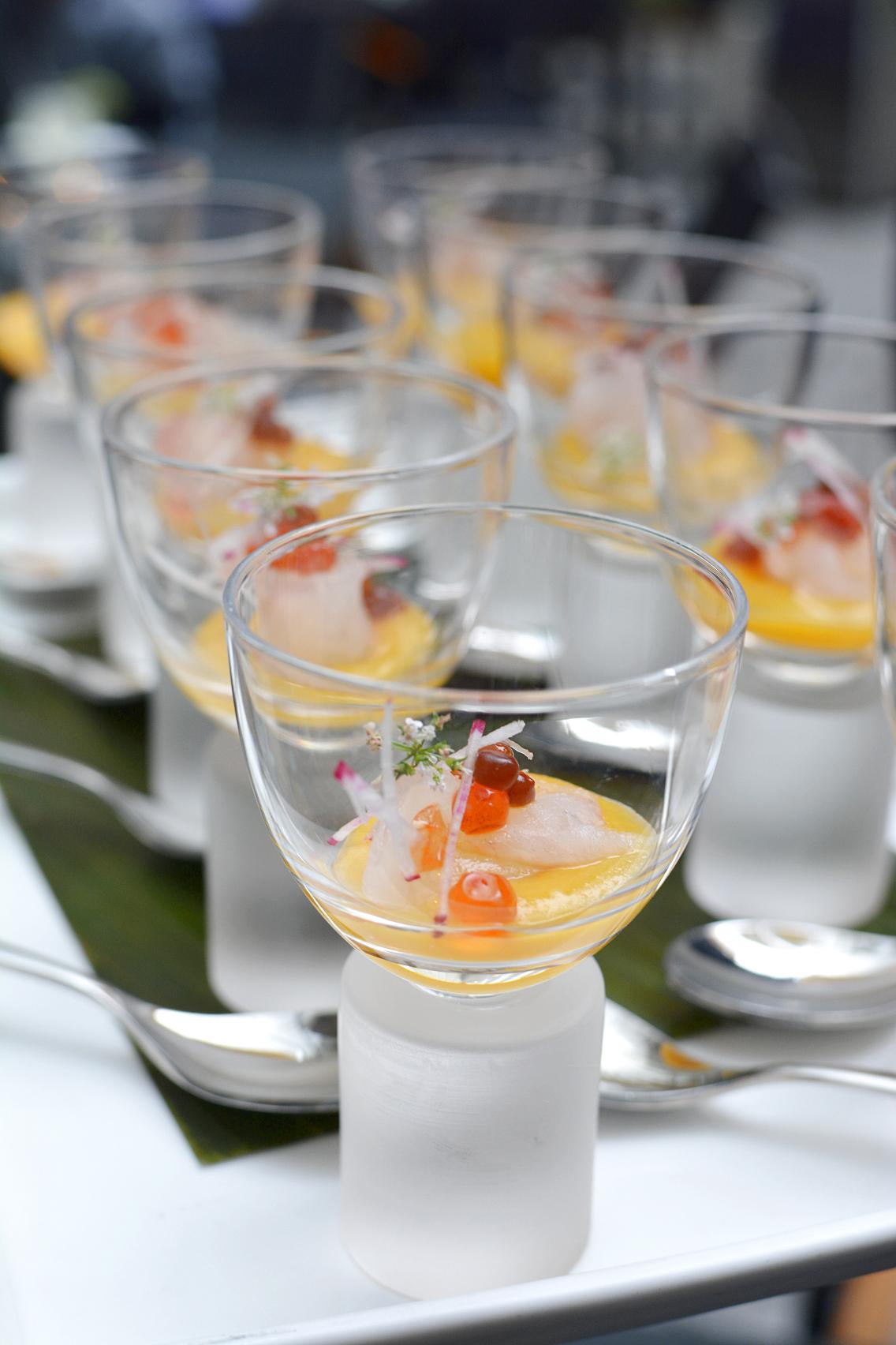 Sofitel Chicago Fluke Sashimi with Apricot jus