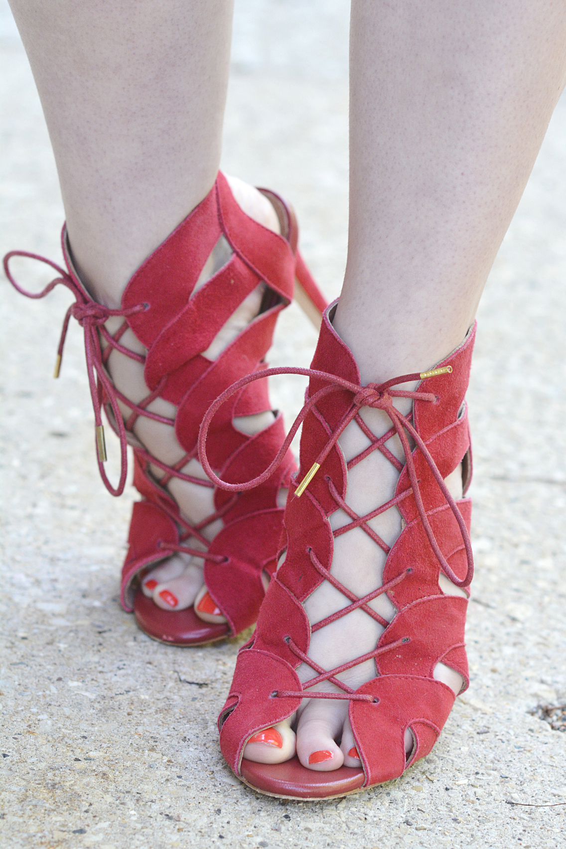 Joie Bonnie Lace Up Red Suede Sandals