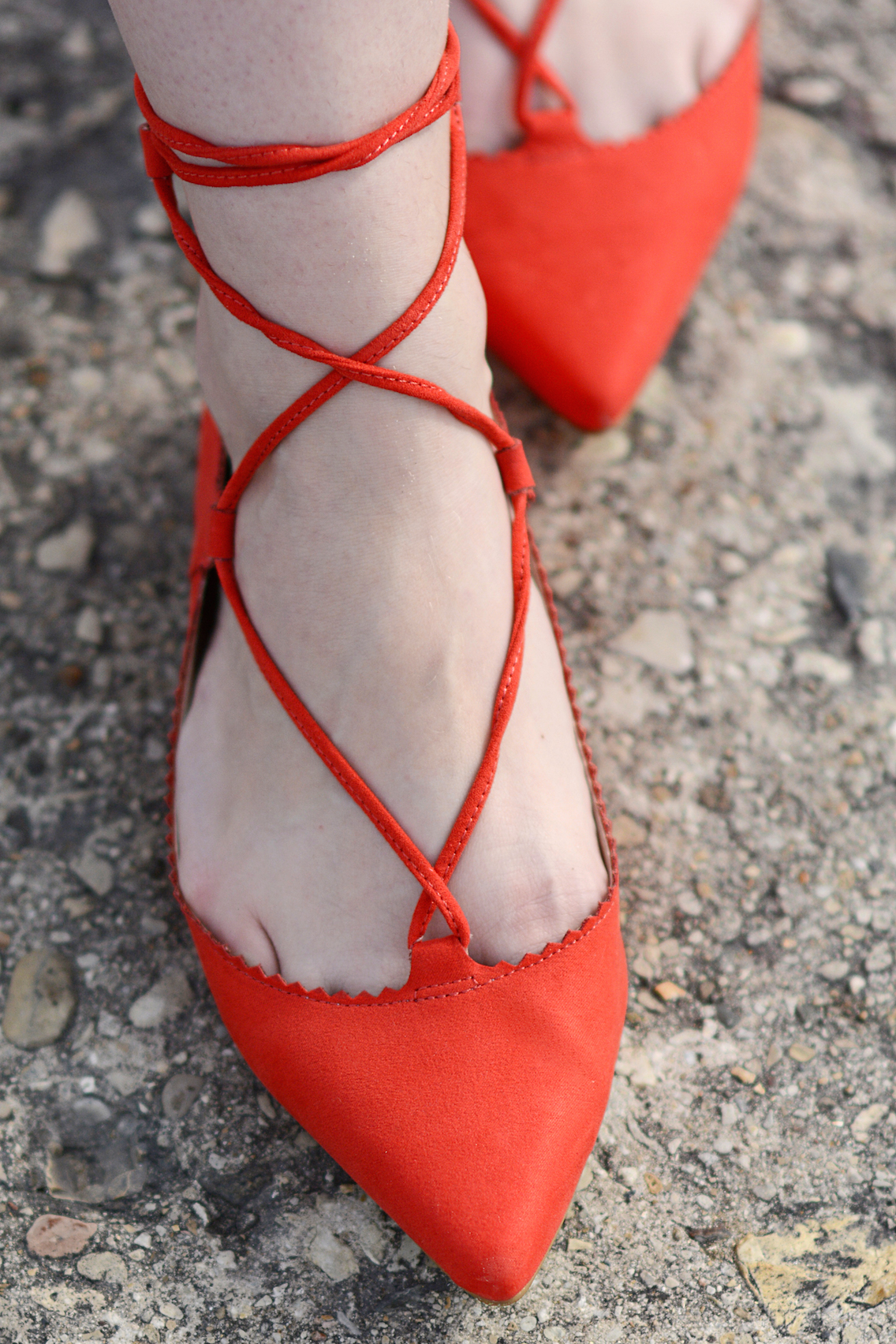 Topshop Lace Up Ghillie Red Flats 2