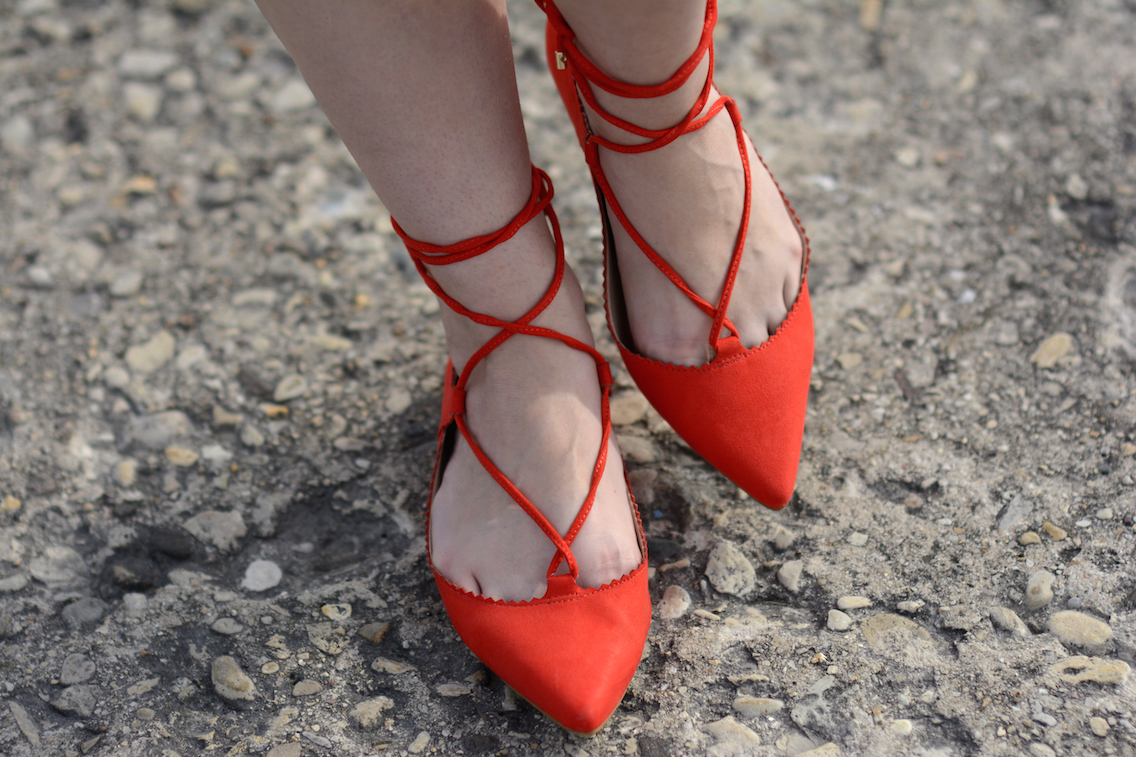 Topshop Lace Up Ghillie Red Flats