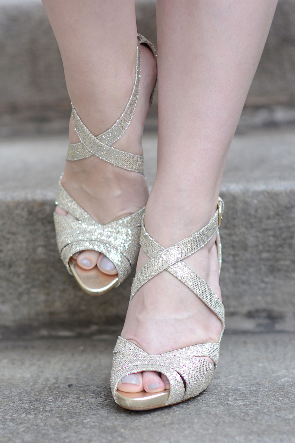 LK Bennett Megan Gold Glitter Platform Sandal 1