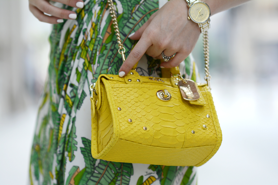 Coach Rhyder 18 crossbody bag in python embossed yellow leather 10