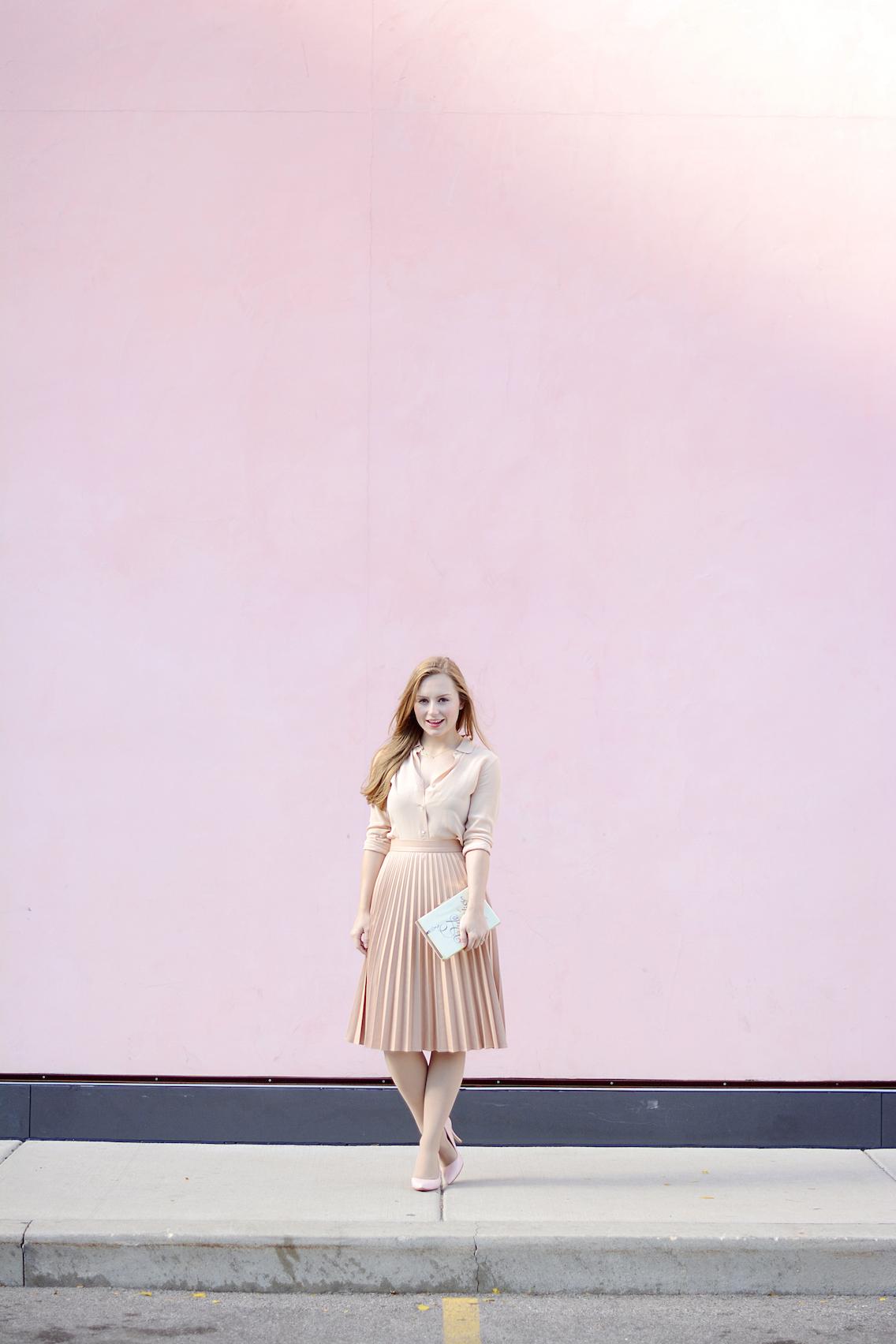 Zara Pleated Skirt Kate Spade Book Clutch Everlane Silk 24
