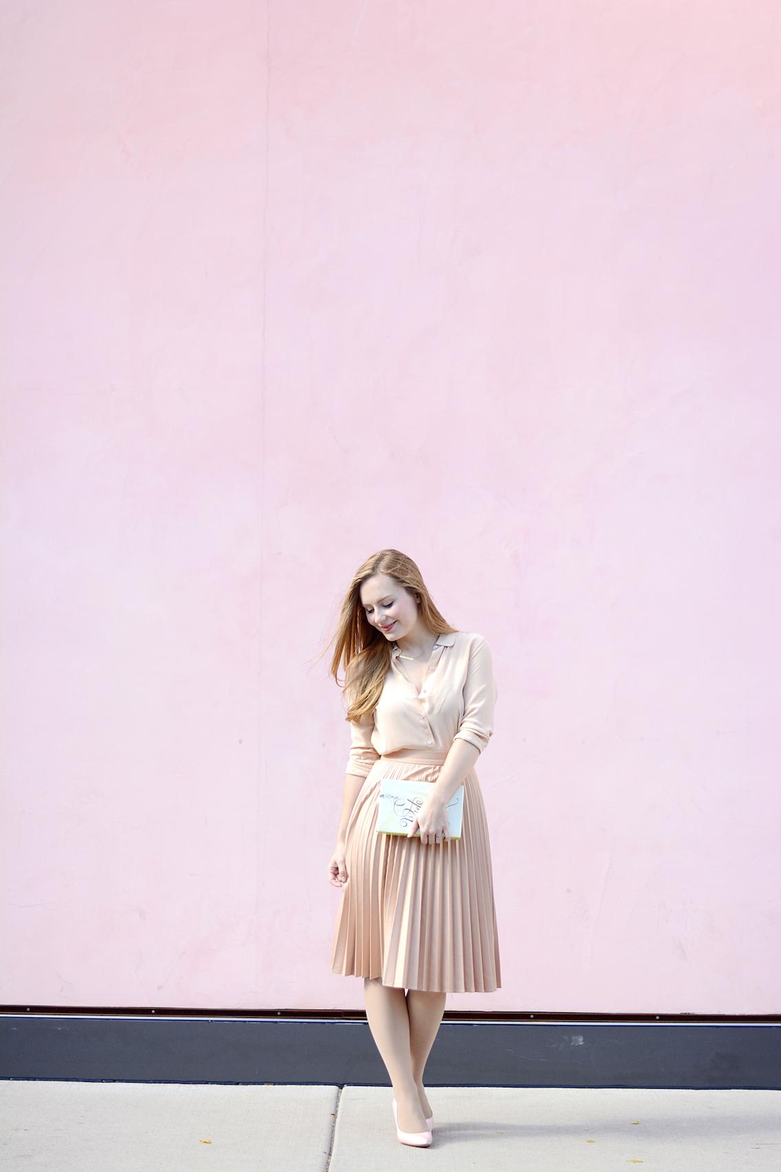 Zara Pleated Skirt Kate Spade Book Clutch Everlane Silk 23