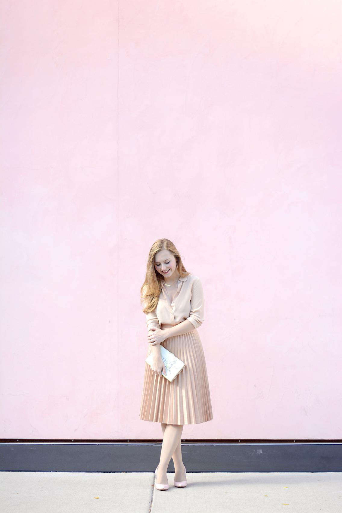 Zara Pleated Skirt Kate Spade Book Clutch Everlane Silk 22