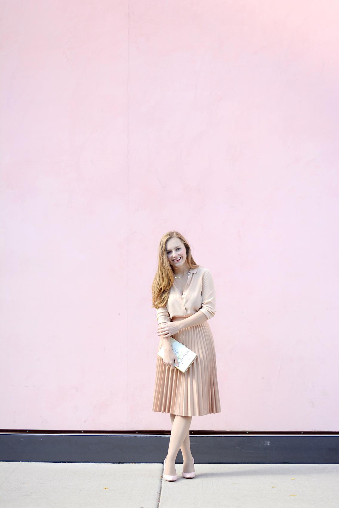 Zara Pleated Skirt Kate Spade Book Clutch Everlane Silk 21