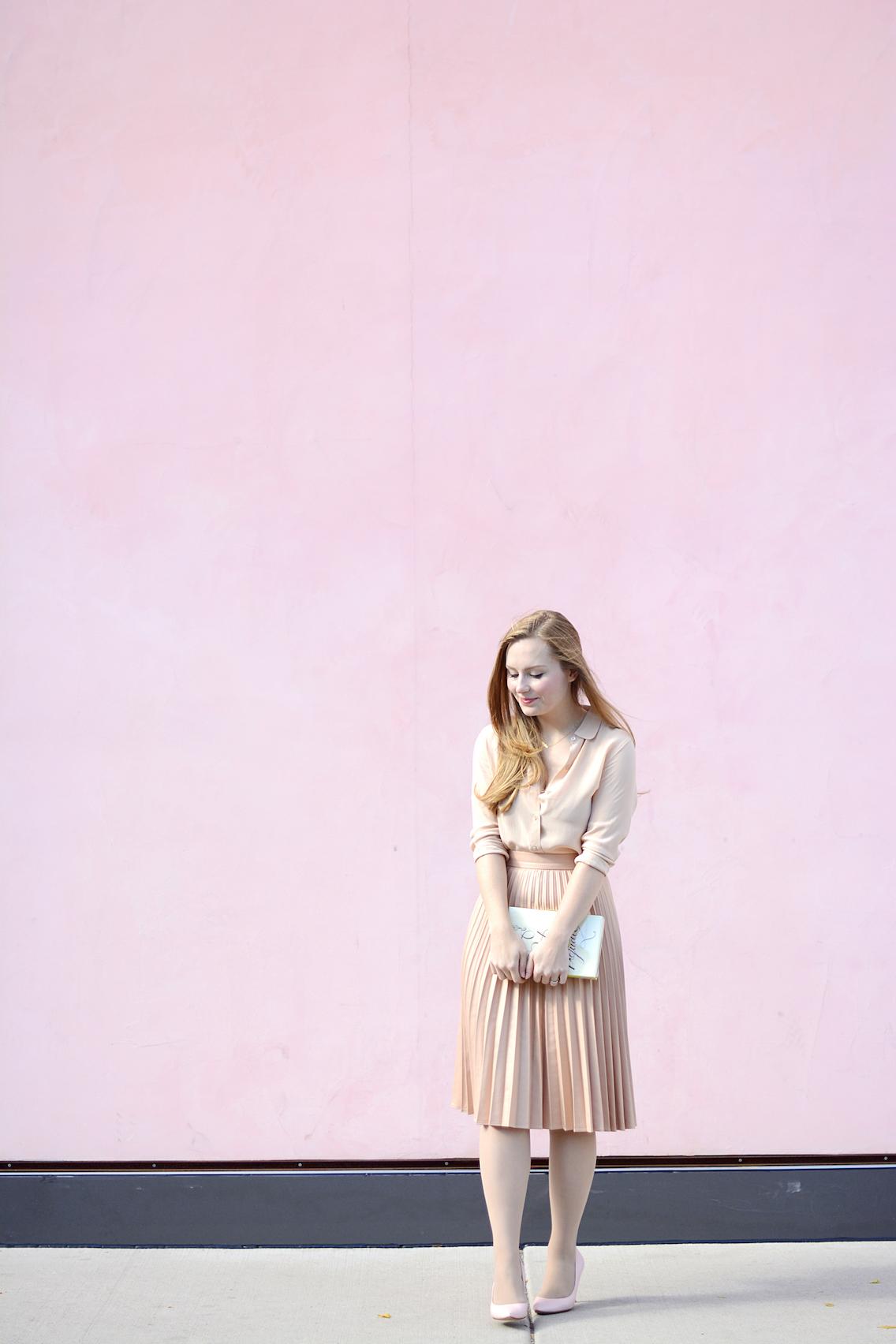 Zara Pleated Skirt Kate Spade Book Clutch Everlane Silk 19