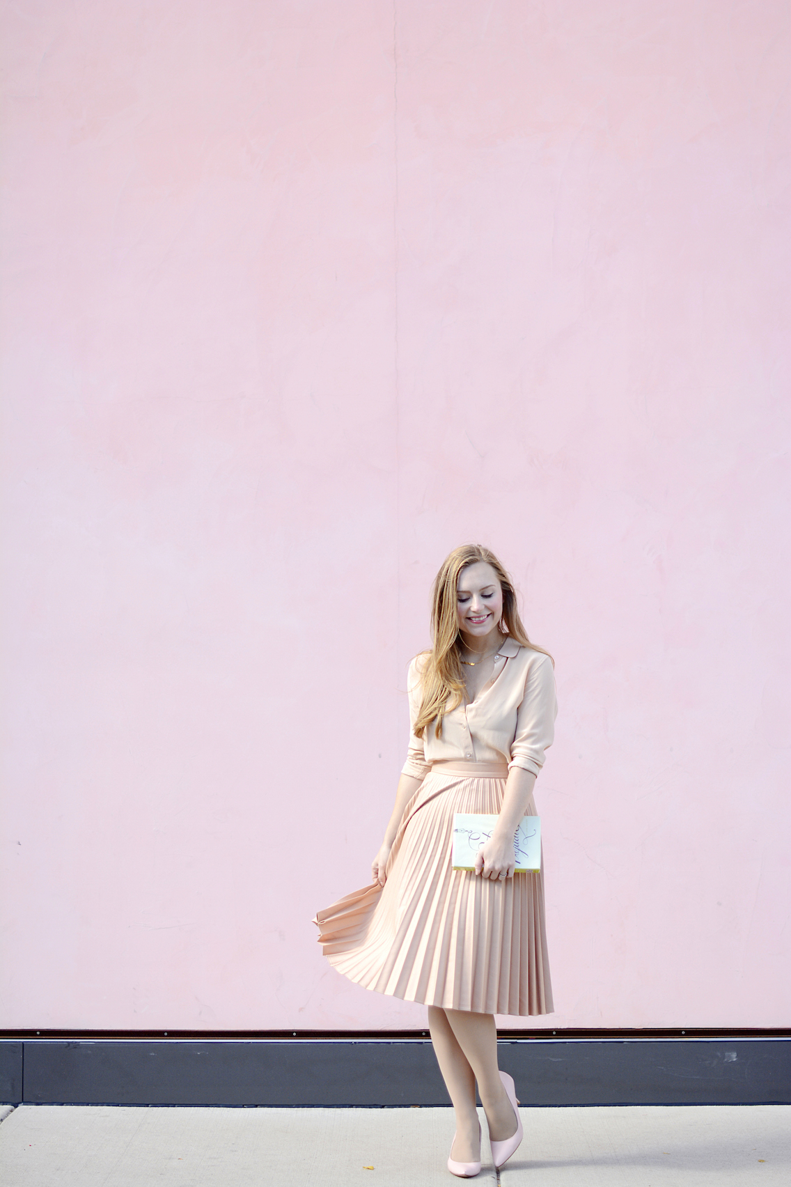 Zara Pleated Skirt Kate Spade Book Clutch Everlane Silk 18