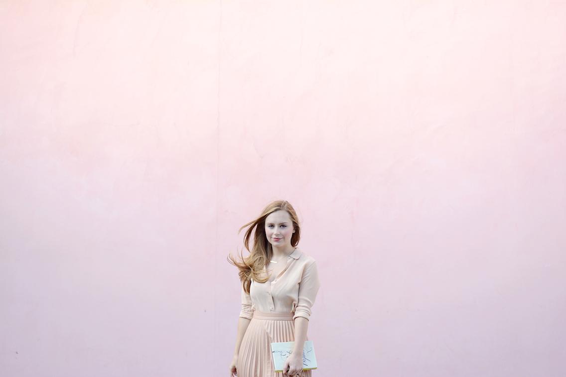 Zara Pleated Skirt Kate Spade Book Clutch Everlane Silk 16