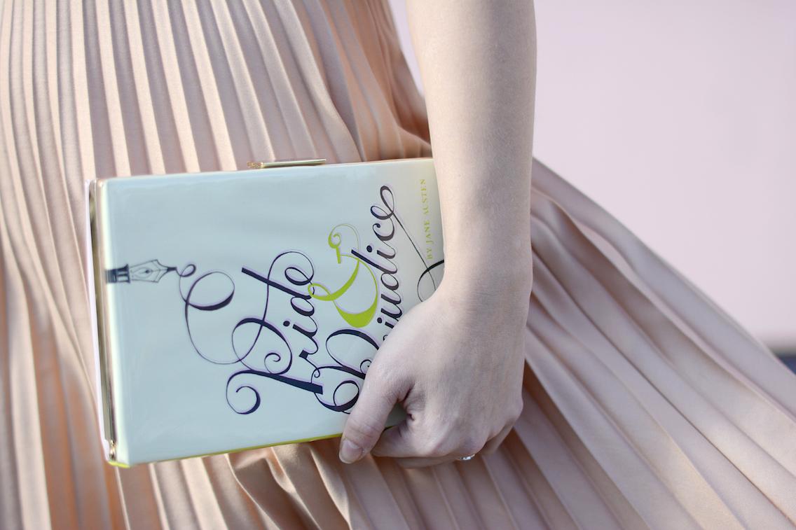 Zara Pleated Skirt Kate Spade Book Clutch Everlane Silk 8