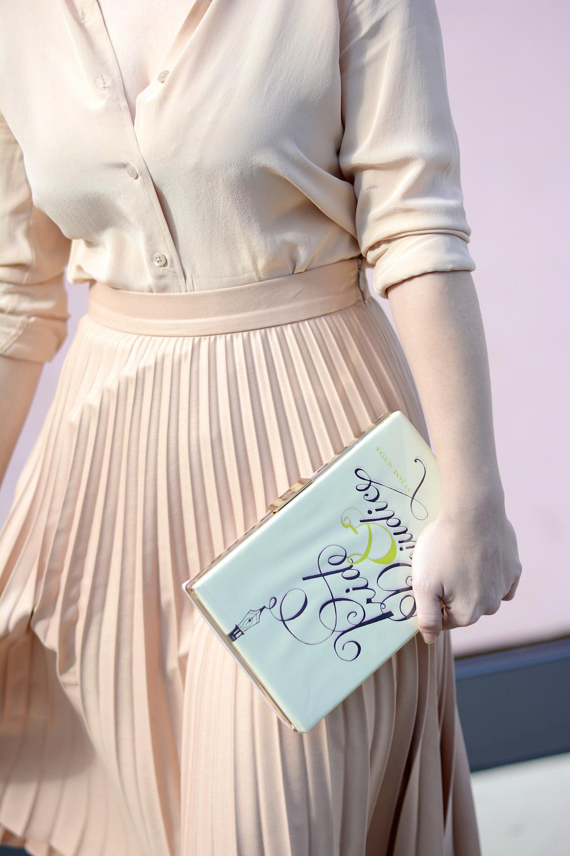 Zara Pleated Skirt Kate Spade Book Clutch Everlane Silk 7