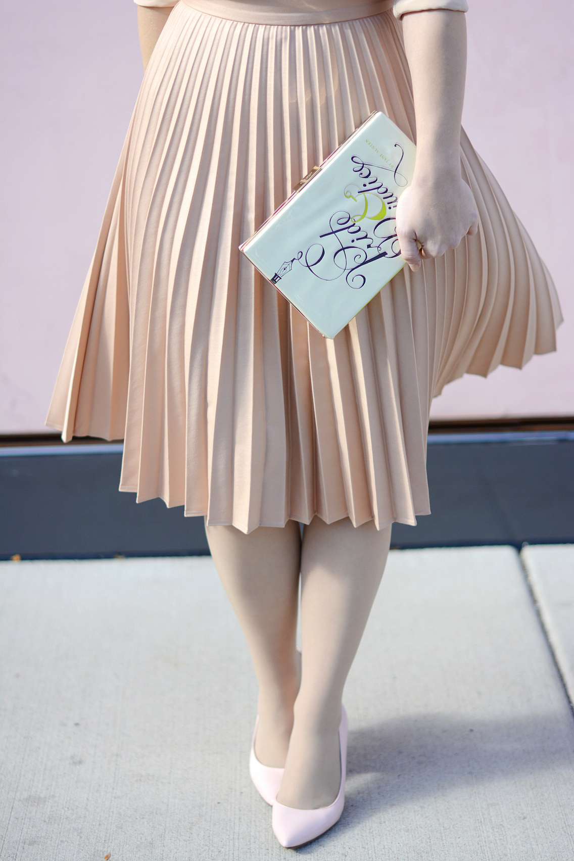 Zara Pleated Skirt Kate Spade Book Clutch Everlane Silk 6