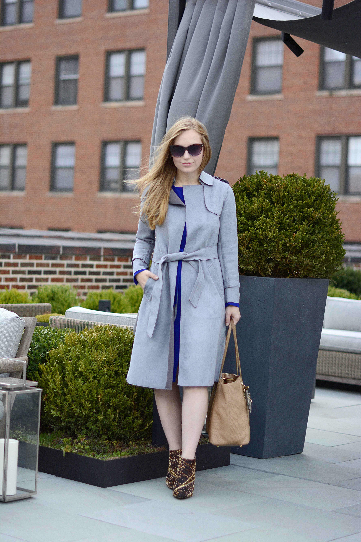 Choies Gray Suede Trench LK Bennett Blue Dress