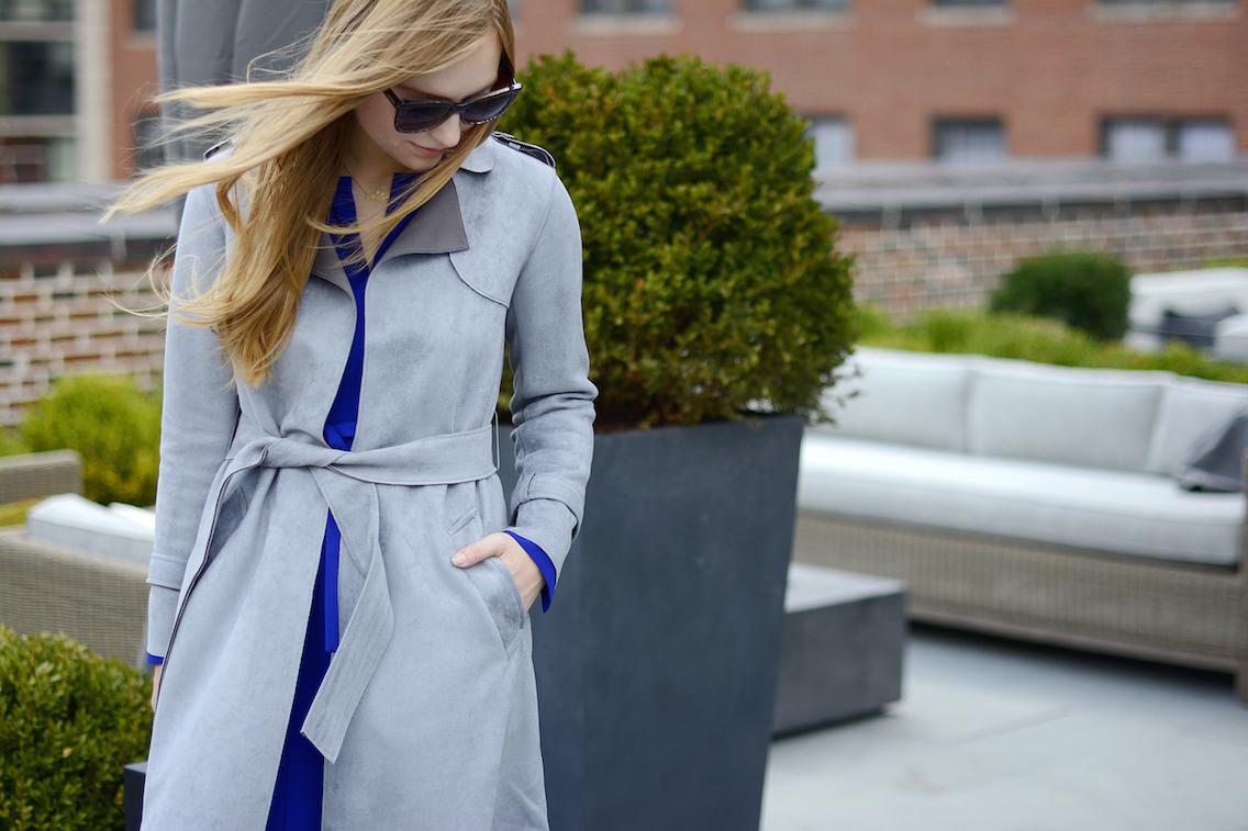 Choies Gray Suede Trench LK Bennett Blue Dress 5