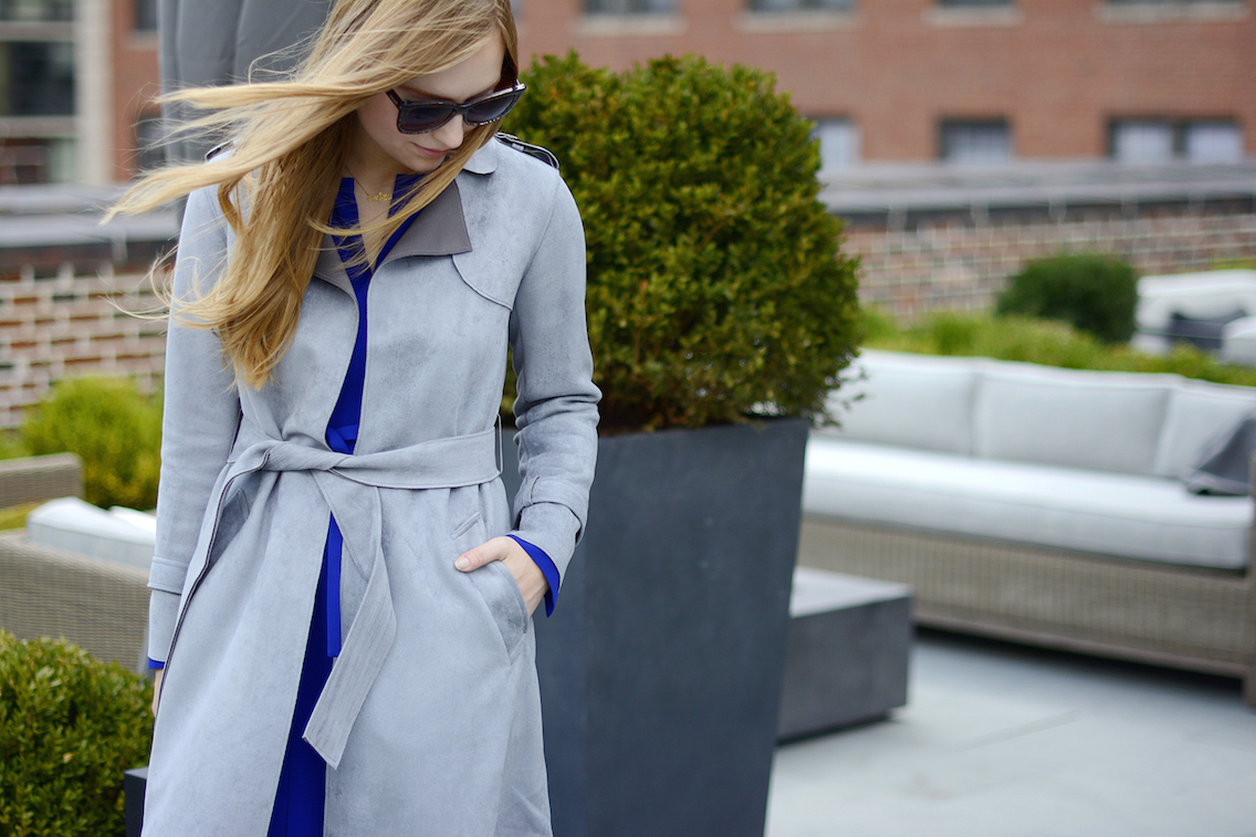 Choies Gray Suede Trench LK Bennett Blue Dress 5