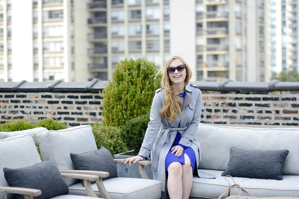 Choies Gray Suede Trench LK Bennett Blue Dress 7