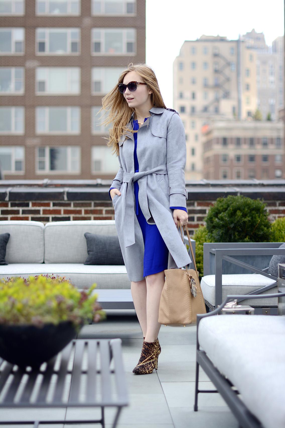 Choies Gray Suede Trench LK Bennett Blue Dress 9