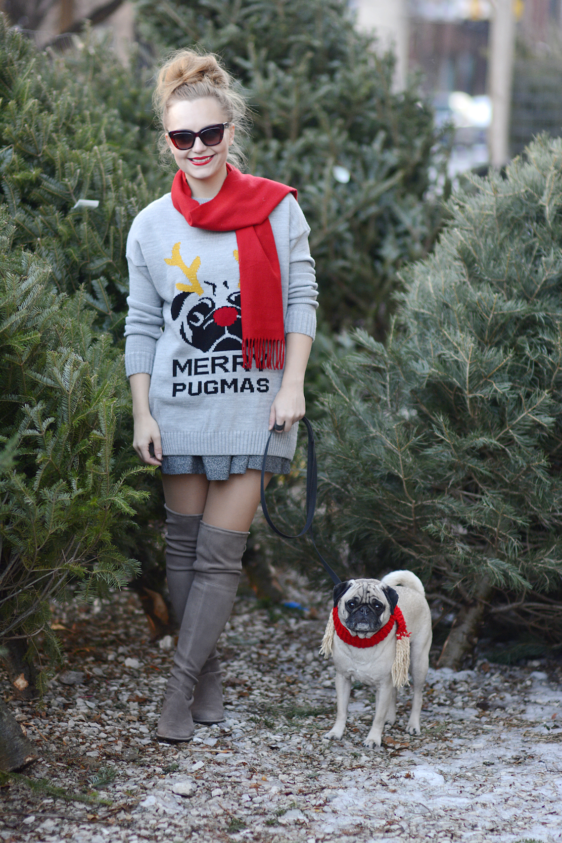 Missguided Merry Pugmas Sweater Stuart Weitzman Lowland Boots 3
