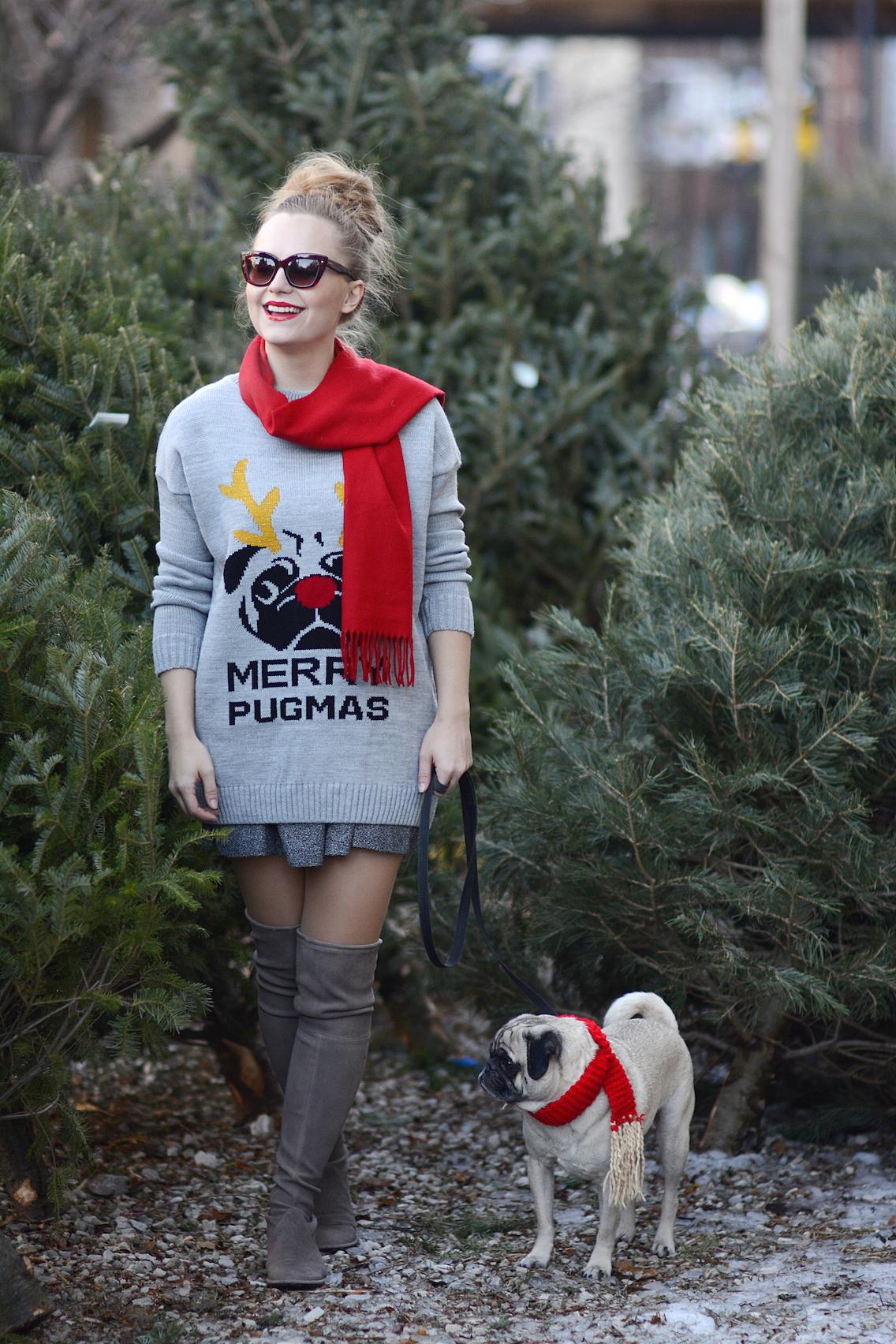 Missguided Merry Pugmas Sweater Stuart Weitzman Lowland Boots 4